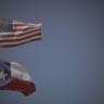Texas Flag and American Flag